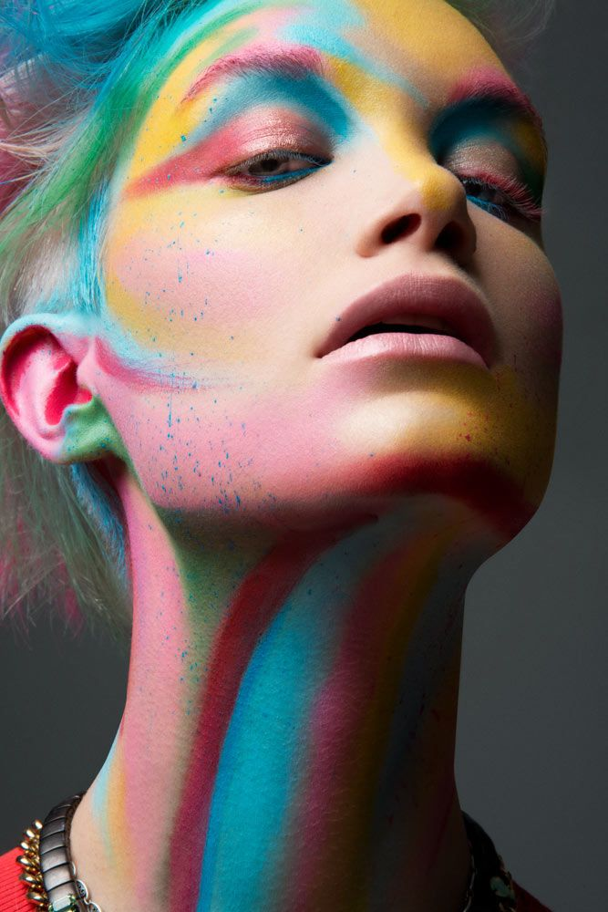 Color Blast – Breanna Lembitz displays a colorful face of makeup for these latest beauty images lensed by Jeff Tse. The blonde dons a rainbow of hues courtesy of hair stylist Devin Toth (Ted Gibson Beauty) and makeup artist Romero Jennings.