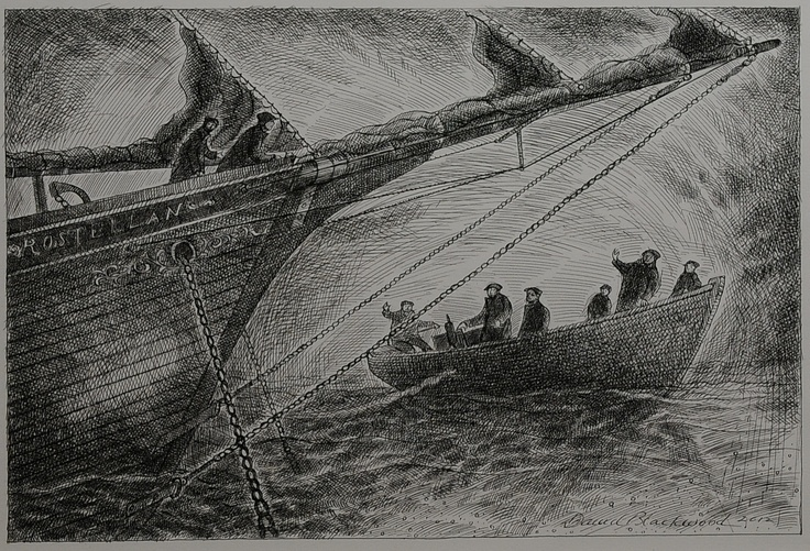 'Passing the Rostellan', 2013, pen and ink drawing, 12 x 18 inches, 30 x 46 cm