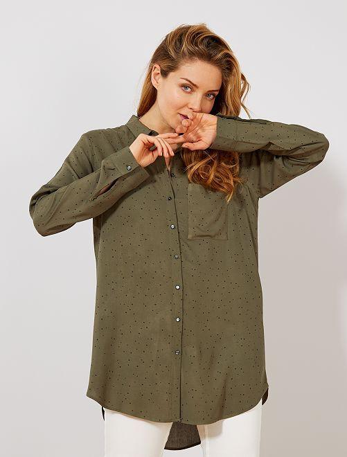 b3b71724eb Camisa vaporosa estampada NEGRO Mujer talla 34 to 48 - Kiabi