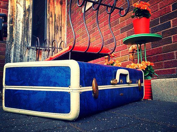 SALE-1950's Blue Marbled Samsonite Large Suitcase by HUEisit