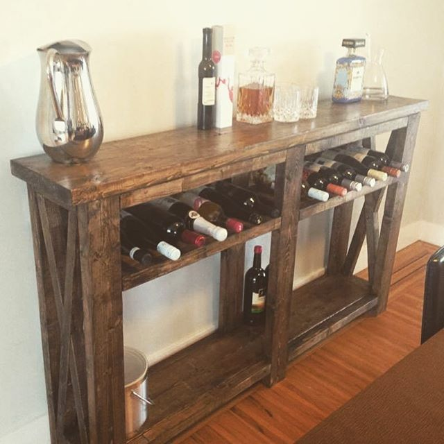 Rustic X Console Mod! Our Signature Refined Rustics Console Table with a wine…