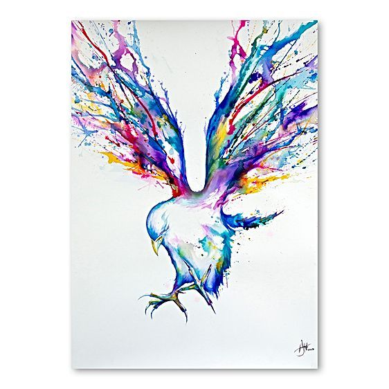 Give colourful flight to your décor with the impressive watercolours of the Achilles Print Art from Americanflat.