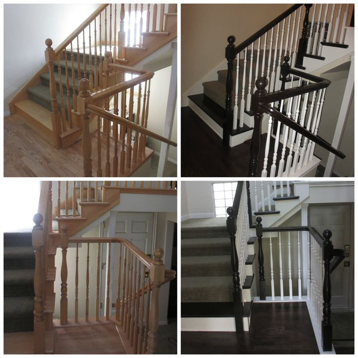 DIY redo of maple entryway using General Finishes Java Gel Stain on the banisters. Oak floors professionally re-stained with Kona.