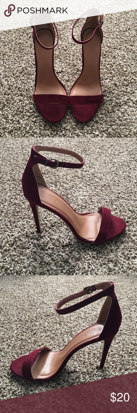 Charlotte Russe maroon heels, size 8 Maroon heels, worn 2 times. Woman's size 8, but I think run more as an 8.5 Charlotte Russe Shoes Heels