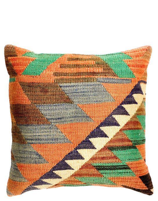 """16"""" Kilim Pillow, Earthy Zig Zag"""