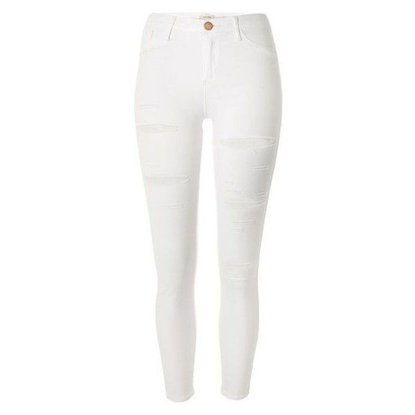 River Island White ripped Molly jeggings ❤ liked on Polyvore featuring pants, leggings, white denim leggings, distressed leggings, white ripped leggings, white skinny pants and white ripped jeggings