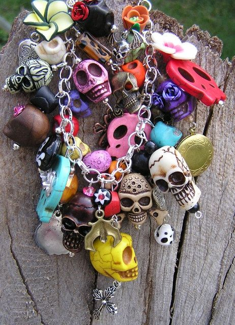 Day of the Dead Skull Charm Bracelet