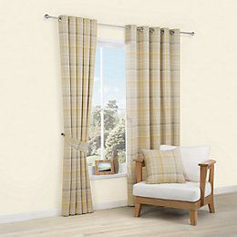 Lamego Duck Egg & Cream Tartan Brushed Eyelet Curtains (W)167cm (L)228cm | Departments | DIY at B&Q