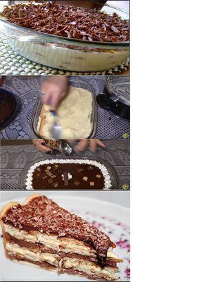 MODO DE PREPARO Molhe os biscoitos maizena no leite com chocolate Prepare cada creme juntando seus ingredientes em uma panela e mexa em fogo brando até engrossar Para a cobertura, bata as claras com o açúcar até obter claras em neve bem consistentes Misture o creme de leite as claras em neve Coloque em um…