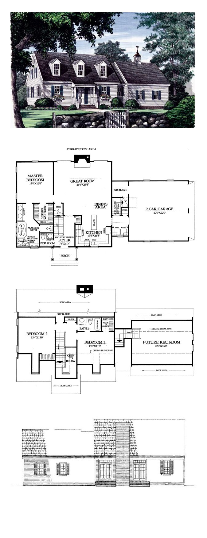 53 best cape cod house plans images on pinterest cape for 5 bedroom cape cod house plans