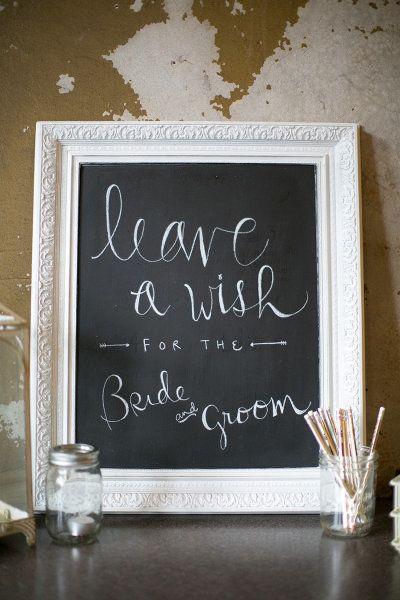Cute wedding reception chalkboard sign.