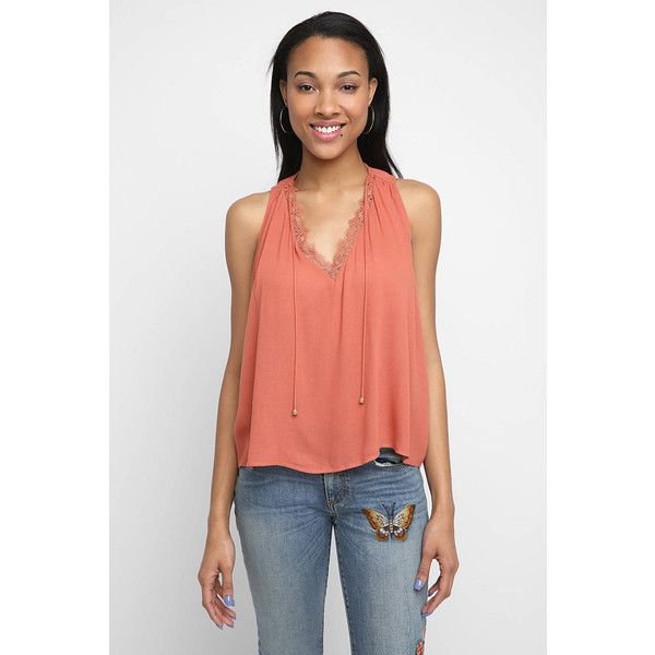 Heartloom Darcy Lace Cami Top ($21) ❤ liked on Polyvore featuring tops, orange, cami tank, red lace camisole, v neck cami, red racerback tank and red tank top