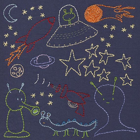 Space embroidery pattern PDF by ShinyHappyWorld on Etsy