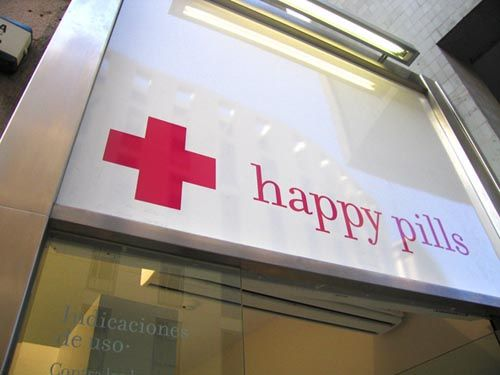 a candy store in Barcelona called Happy Pills.