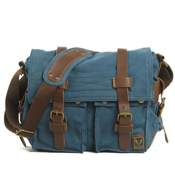 Blue Canvas Leather Camera Bag Leisure Shoulder Bag Messenger Bag DSLR Camera Bag 2138DL