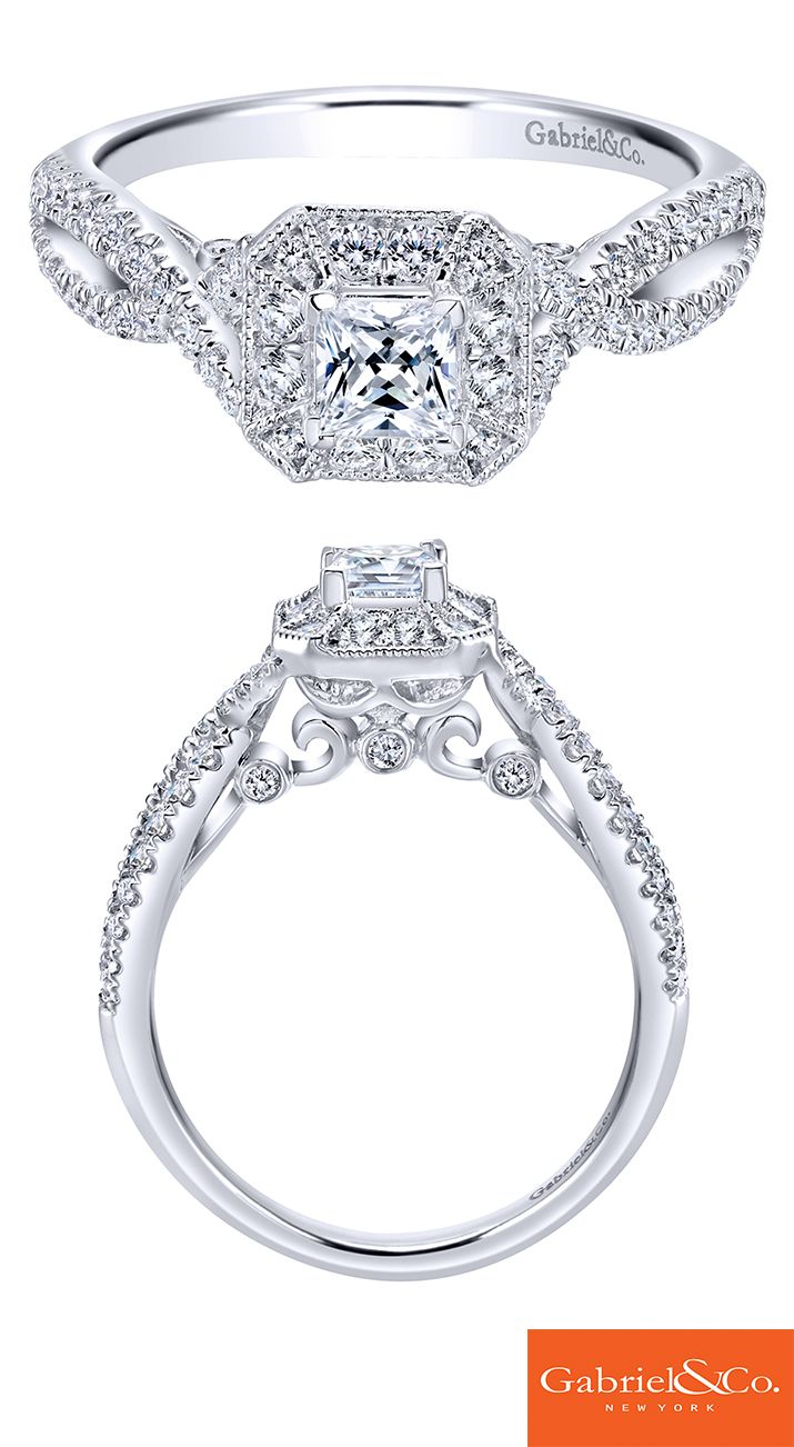 Sparkle beyond compare. This breathtaking contemporary 14k white gold diamond engagement ring with a princess cut center stone will make your heart skip a beat! Discover this perfect engagement ring or customize your own at Gabriel & Co.