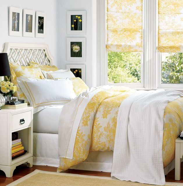 sunny bedroom: Bedroom Decor, Guest Bedrooms, Dream, Yellow Bedrooms, Duvet Cover, Master Bedroom, Guest Rooms, Pottery Barn, Bedroom Ideas