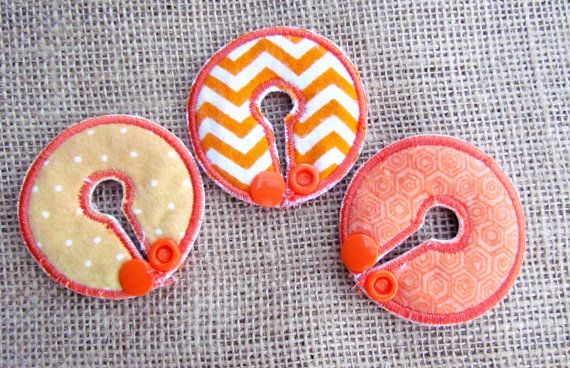 Orange Belly Dots Button Cover Set for G-Tube J-Tube Cecostomy