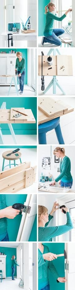 Turquoise workbench for your DIY projects