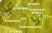 A map showing the main objectives of operation Market Garden