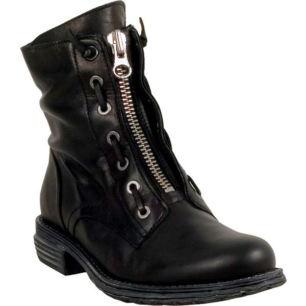 Miz Mooz Rosie Women's Combat Boot ($175) ❤ liked on Polyvore featuring shoes, boots, black, laced up ankle boots, ankle boots, ankle combat boots, short black boots and black boots