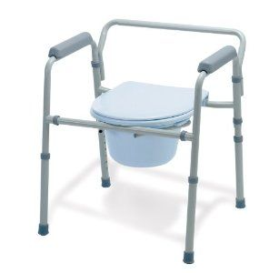 Medline Painted Steel Commode by Medline. $77.56. Can also be used in the bathroom as an elevated toilet seat or as toilet safety rails when combined with most standard toilets. Gray powder coated steel is rust resistant and durable. All models include pail, lid and splash guard. 350 pound 159 kg weight capacity; Seat height range is 16.5 inch 22.5 inch 42 57 cm; Seat depth is 16 inch 41 cm; Width between arms is 19 inch 48 cm; Overall width is 21.25 inch 54 cm. Clip on seats...