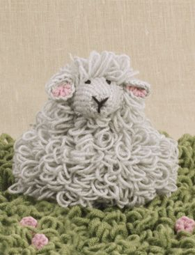 Hæklet lam, blød bamse eller pynt, hæklet med løkkemasker