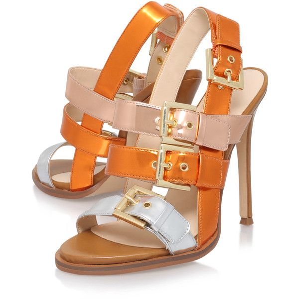 Howrude Nine West Orange ($140) ❤ liked on Polyvore featuring shoes, sandals, metallic shoes, orange shoes, nine west, synthetic shoes and metallic sandals