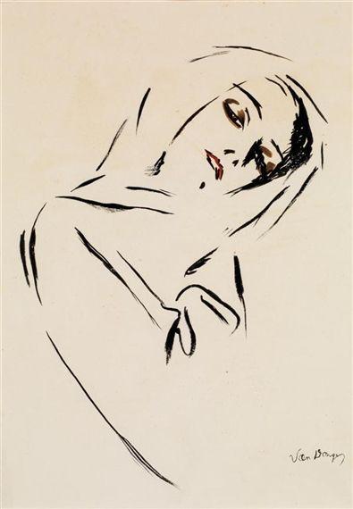 Kees van Dongen, Portrait De Femme Au Foulard