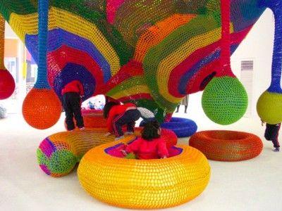 Artist Crochets Fabulous Playgrounds for Children