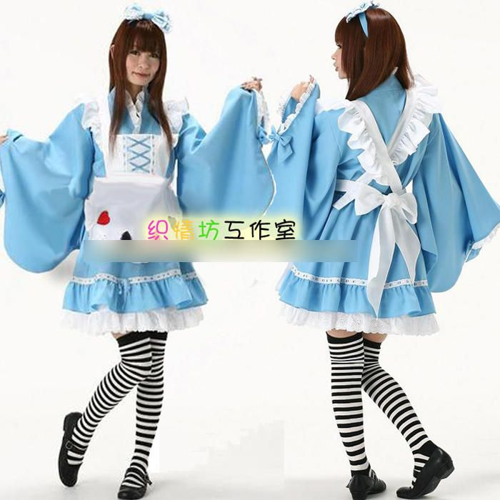 Kimono Party Costume, Including:Headwear + Top + Skirt + Aprons , Black and White , One Size - Kawaii Store | YESSTYLE