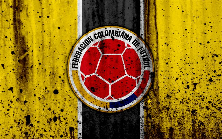 Download wallpapers Colombia national football team, 4k, emblem, grunge, Europe, football, stone texture, soccer, Colombia, logo, South American national teams
