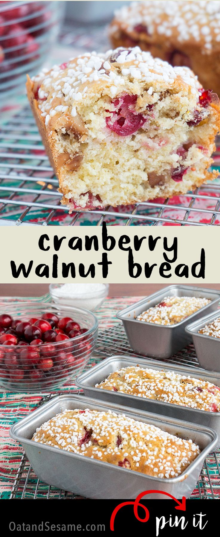 A festive holiday quick bread! Perfect for gifting!  Cranberry Walnut Bread is sweet, tart and delicious!