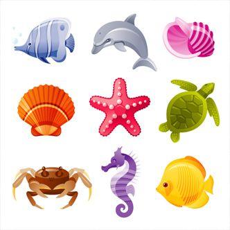Iconos de animales marinos de diferentes colores. Concha, delfín, tortuga, pez, caballito de mar.