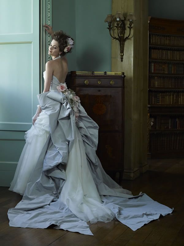 Ian Stuart wedding gown. Something blue, roses, fit for a queen, ironic Marie Antoinette