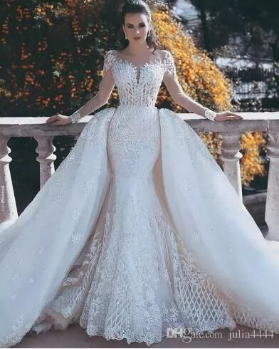 2019 Vintage Mermaid Wedding Dresses Overskirts with Detachable Train Lace Pearls Sheer Neck Long Sleeves Backless Bridal Gown Dubai