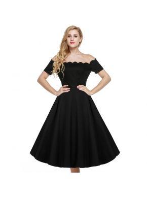 Siyah ACEVOG Retro Kadınlar Kapalı Omuz Cap Sleeve Düz Salıncak Parti Elbiseleri