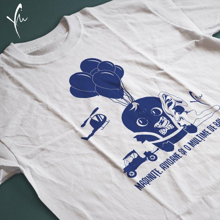 Tricou cu text imprimat: Masinute, avioane si o multime de baloane. Il gasiti la http://ya-ma.ro/produs/masinute-si-baloane-tricou/