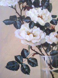 Натюрморт, белые розы, Горный Алтай, холст, акрил, продажа