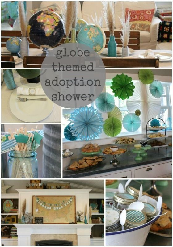globe themed baby adoption shower... oooh, I know a couple of families who are in the running for this sweet shower.