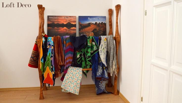 rustic shelf for scarves - wallnut tree