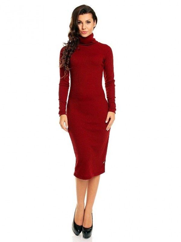 Rochie tricotata roşu bordo cu guler Ana