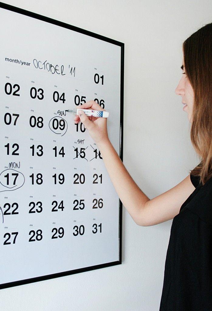 DIY wipe board calendar.