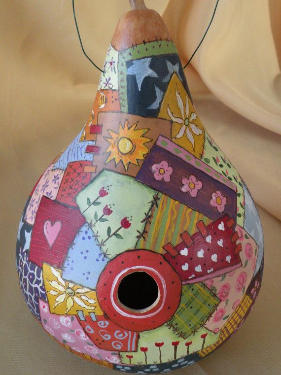 Gourd Birdhouse with Quilt Design by MarleyartHoliday on Etsy, $65.00