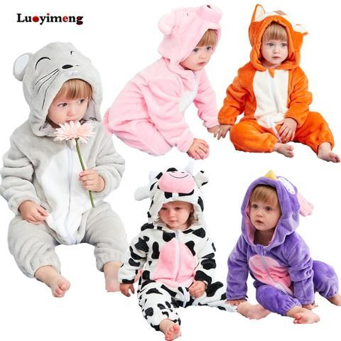 d302496d51ae Cute Animal Hooded Baby Rompers For Babies Boys Girls Clothes ...