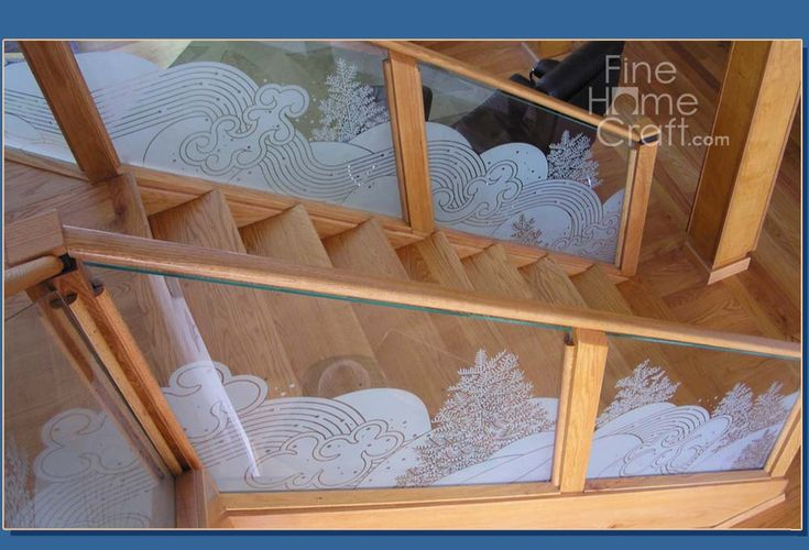 Best Staircase Glass Etched Banister Glass Staircase Home 640 x 480