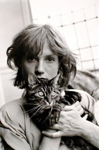 Cat and Isabelle Huppert, 1983. photo by Édouard Boubat. The cat may be Boubat's: http://www.jacksonfineart.com/Edouard-Boubat-734.html  http://www.thegreatcat.org/the-cat-in-art-and-photos-2/cats-in-art-20th-century/edouard-boubat-1923-1999-french/