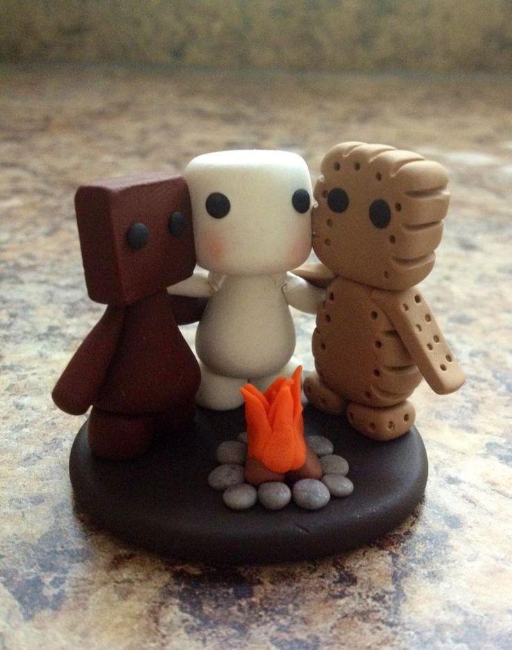 Campfire Buddies Marshfellows ||| clay, toy, doll, house, marshmallow, sculpture