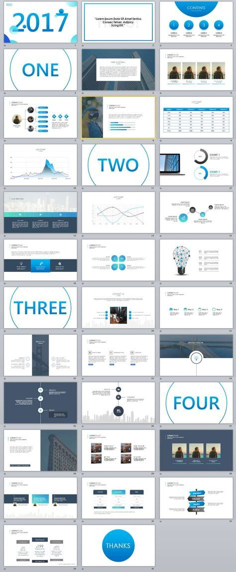 35+ Slide Best Blue Business PowerPoint Templates Page design