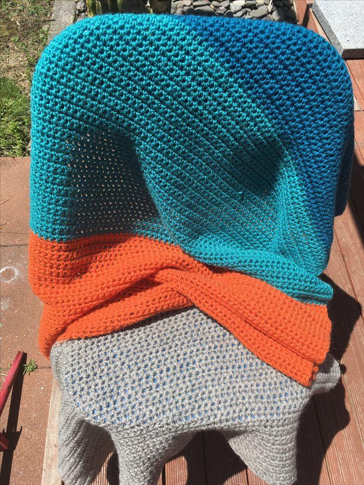 Half-double crochet wool blanket